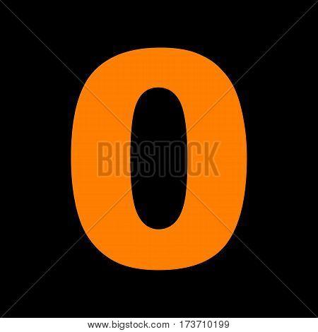 Number 0 sign design template element. Orange icon on black background. Old phosphor monitor. CRT.