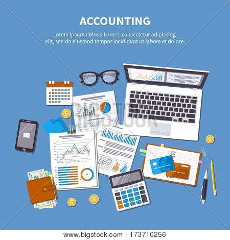 Accounting concept. Financial analysis, tax payment, pay day, calculation, statistics, research. Forms, charts, graphs, documents, calendar, calculator, wallet, money, credit card, coins, desk.