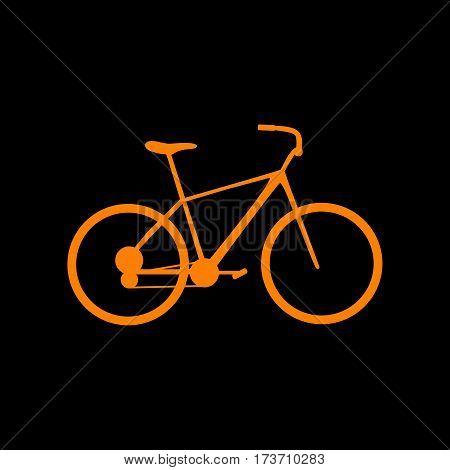 Bicycle, Bike sign. Orange icon on black background. Old phosphor monitor. CRT.