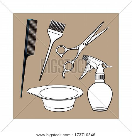 Set of hairdresser objects - scissors, brush, comb, coloring bowl and spray bottle, sketch style vector illustration isolated on brown background. Hairdresser, hair stylist tools, objects, attributes