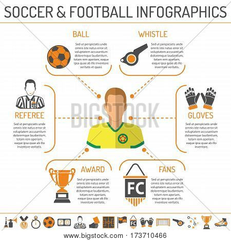 soccer infographics with two color Icons Set like football player, ball, award and referee. Isolated vector illustration