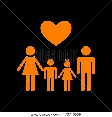 Family symbol with heart. Husband and wife are kept children's hands. Orange icon on black background. Old phosphor monitor. CRT.