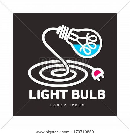 Logo template with light bulb and power cable forming a table lamp, innovation concept, vector illustration isolated on black background. Line art logotype, logo design with light bulb as table lamp