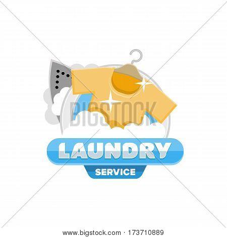 laundry logo emblem badge template design vector