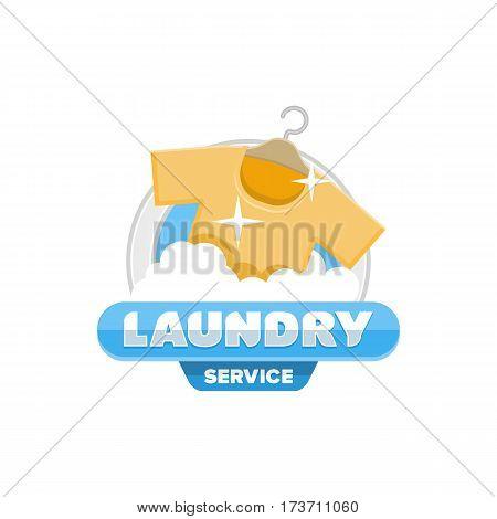 service laundry logo emblem badge template vector