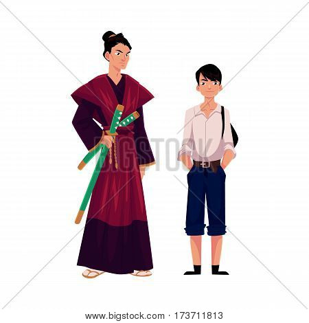 Japanese people - samurai in historical costume and typical schoolboy, cartoon vector illustration isolated on white background. Japanese samurai and schoolboy, typical, stereotypical people of Japan