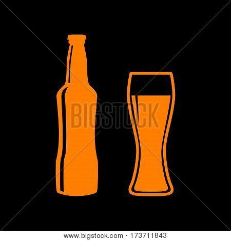 Beer bottle sign. Orange icon on black background. Old phosphor monitor. CRT.
