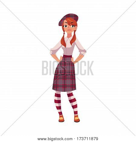 Youn girl in traditional Scottish clothes, tartan beret and kilt, cartoon vector illustration isolated on white background. Full length portrait of Scottish woman, young girl in tartan, plaid and kilt
