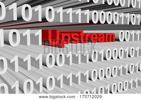 upstream in the form of binary code, 3D illustration