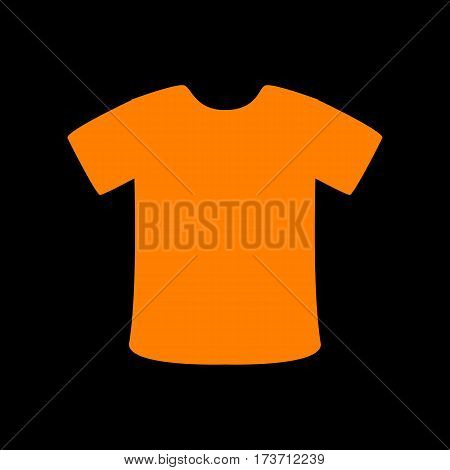 T-shirt sign. Orange icon on black background. Old phosphor monitor. CRT.