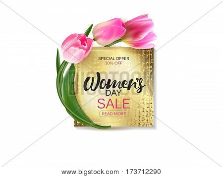 Womens day banner. Golden plate with lettering. Vector illustration template, card, banners, wallpaper, flyers, invitation, posters, brochure, voucher discount.