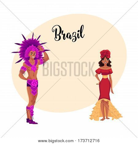 Man and woman dressed for Brazilian carnival in Rio de Janeiro, samba dancers in festival dresses, cartoon vector illustration with place for text. Brazilian couple in carnival suits