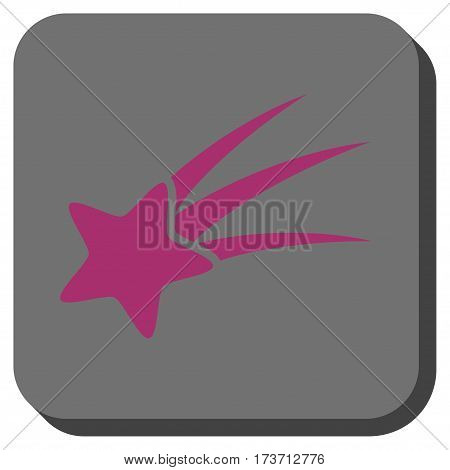 Falling Star interface icon. Vector pictograph style is a flat symbol on a rounded square button, purple and gray colors.