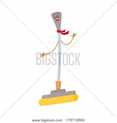 Funny sponge mop character with smiling human face, cartoon vector illustration isolated on white background. Smiling sponge mop character, house cleaning concept, domestic cleaning equipment