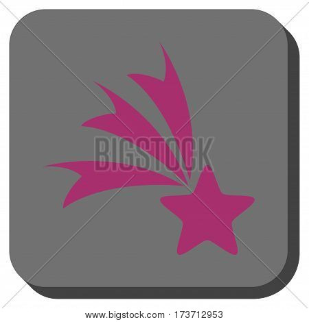 Falling Star toolbar icon. Vector pictogram style is a flat symbol in a rounded square button, purple and gray colors.