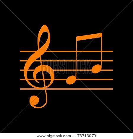 Music violin clef sign. G-clef and notes G, H. Orange icon on black background. Old phosphor monitor. CRT.