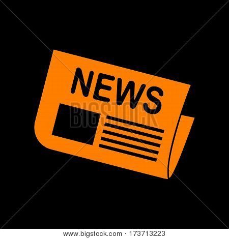 Newspaper sign. Orange icon on black background. Old phosphor monitor. CRT.