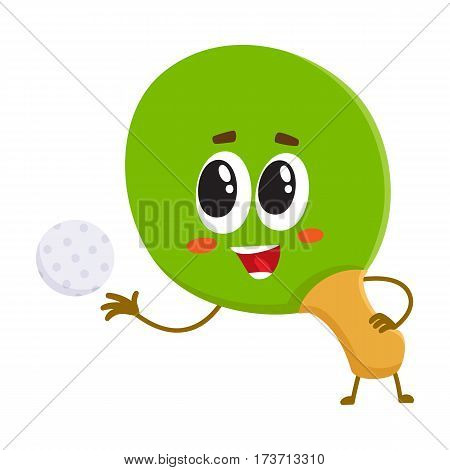 Funny table tennis, ping pong racket character with human face, cartoon vector illustration isolated on white background. Smiling table tennis, ping pong racket character, sport equipment
