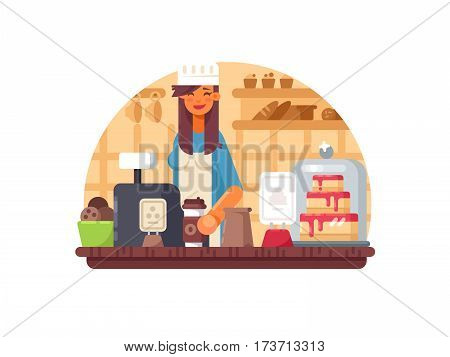 Baker seller woman stands on cashier in bakery. Vector illustration