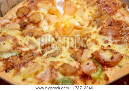 Hot Pizza In The In Delivery Box You Can Put Your Writing On The Box. Ready To Eat