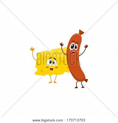 Frankfurter sausage and cheese chunk characters dancing happily together, cartoon vector illustration isolated on white background. Funny cheese and sausage characters, mascots with human faces
