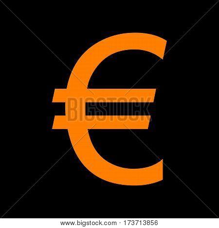 Euro sign. Orange icon on black background. Old phosphor monitor. CRT.