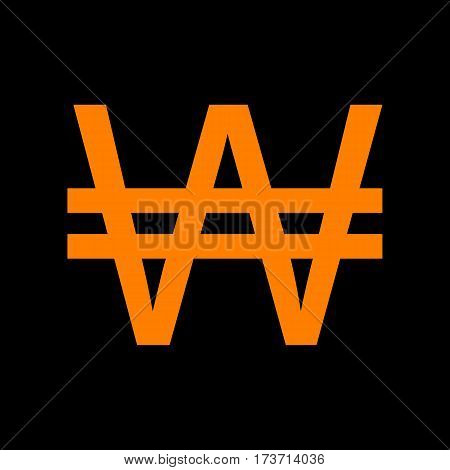 Won sign. Orange icon on black background. Old phosphor monitor. CRT.