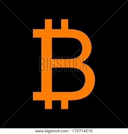 Bitcoin sign. Orange icon on black background. Old phosphor monitor. CRT.