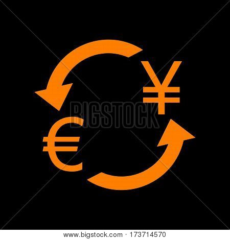 Currency exchange sign. Euro and Japan Yen. Orange icon on black background. Old phosphor monitor. CRT.