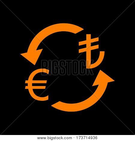 Currency exchange sign. Euro and Turkey Lira. Orange icon on black background. Old phosphor monitor. CRT.