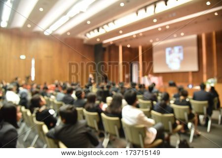Education Concept, Blurred Education People Sitting In Meeting Room For Profession Seminar