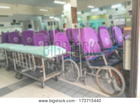Blur abstract background perspective view of wheelchair seat row in hospital