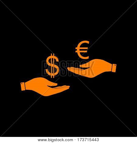 Currency exchange from hand to hand. Dollar adn Euro. Orange icon on black background. Old phosphor monitor. CRT.