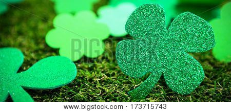 St Patricks Day green shamrock on grass