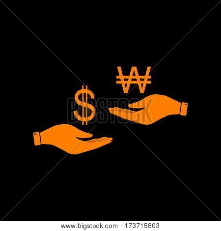 Currency exchange from hand to hand. Dollar and South Korea Won. Orange icon on black background. Old phosphor monitor. CRT.