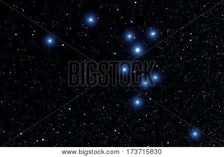 Milky way stars on a dark sky - Orion's belt.