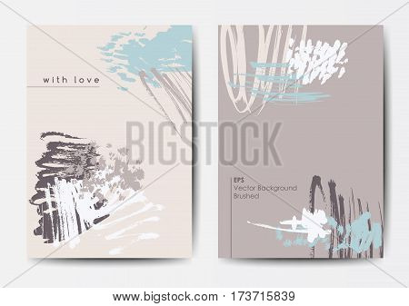 Modern grunge brush design templates, invitation, banner, art vector cards design in soft colors