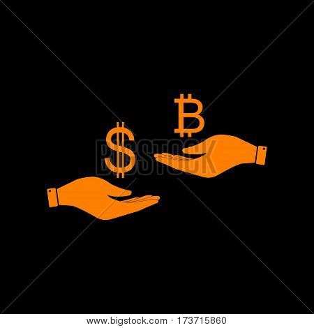 Currency exchange from hand to hand. Dollar and Bitcoin. Orange icon on black background. Old phosphor monitor. CRT.