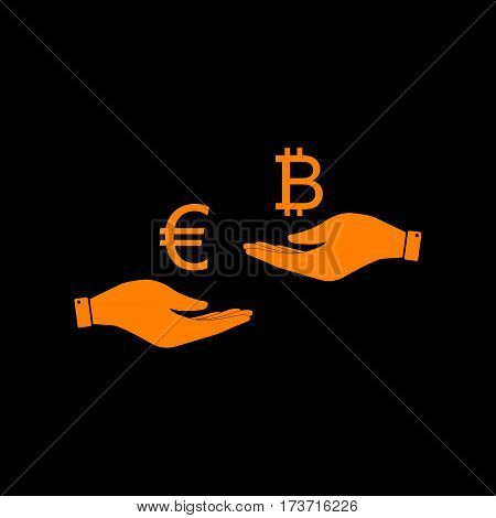 Currency exchange from hand to hand. Euro an Bitcoin. Orange icon on black background. Old phosphor monitor. CRT.