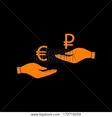 Currency exchange from hand to hand. Euro and Rouble. Orange icon on black background. Old phosphor monitor. CRT.