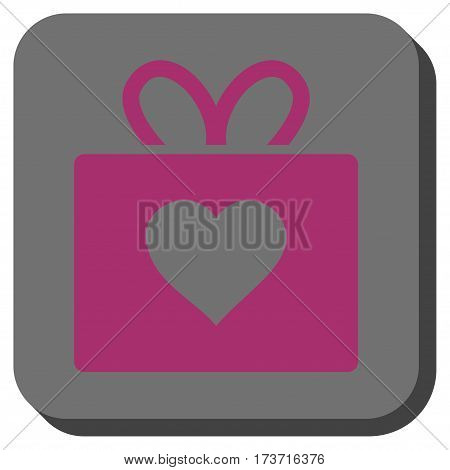 Love Gift rounded button. Vector pictogram style is a flat symbol on a rounded square button, purple and gray colors.