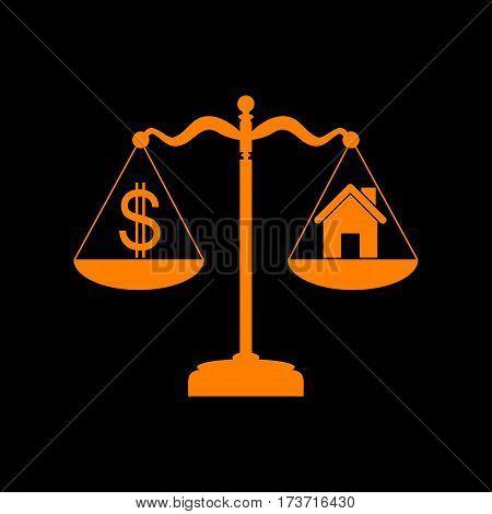 House and dollar symbol on scales. Orange icon on black background. Old phosphor monitor. CRT.