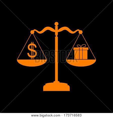Gift and dollar symbol on scales. Orange icon on black background. Old phosphor monitor. CRT.