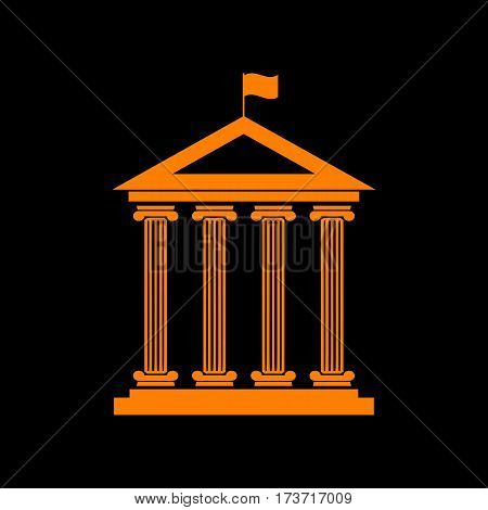 Historical building with flag. Orange icon on black background. Old phosphor monitor. CRT.