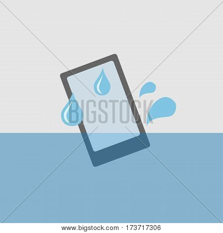 Mobile phone in water design banner .