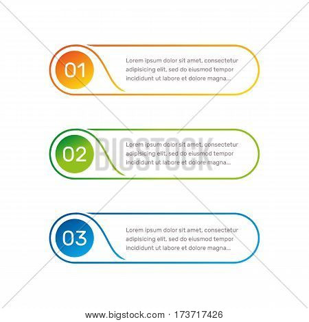 Infographic round shape colorful numbers from 1 to 3 and text columns vector illustration
