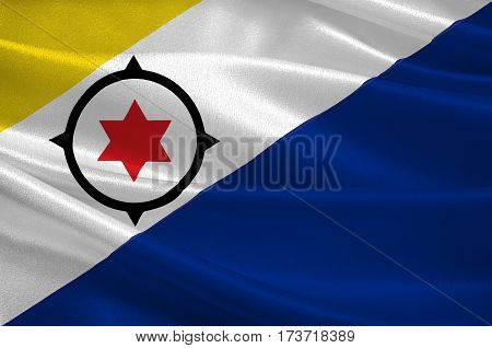 Flag of Bonaire is an island in the Leeward Antilles in the Caribbean Sea. Special municipality of the Netherlands. 3d illustration
