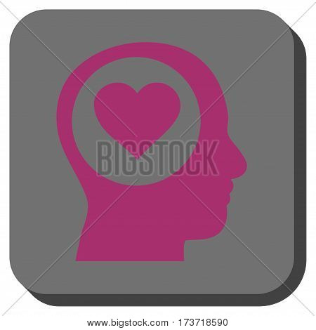 Love Thinking Head interface button. Vector pictogram style is a flat symbol in a rounded square button, purple and gray colors.