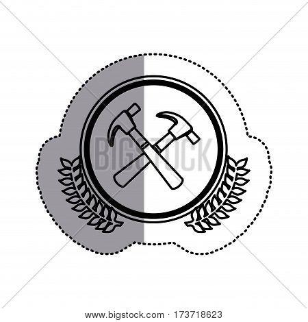 contour symbol hammers icon stock, vector illustration design image