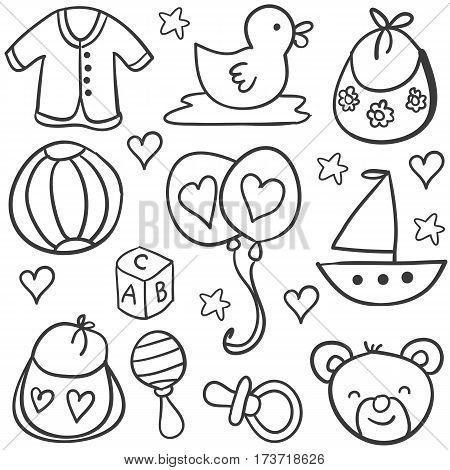 Collection stock of baby object doodles vector art